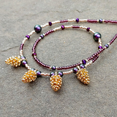 Purple and Pinecones Necklace