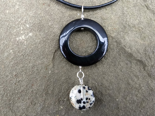 Black Onyx and Dalmatian Jasper Pendant