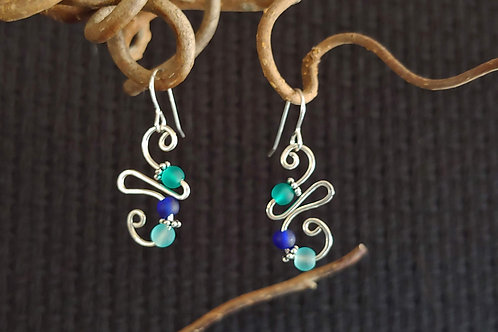 Bent Silver Ocean Glass Earrings