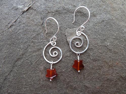 Carnelian and Stars Earrings