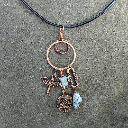 Funky Copper & Larimar Pendant