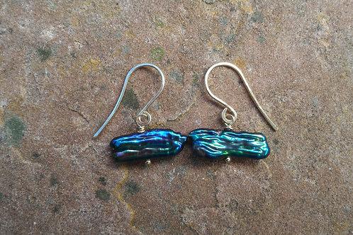 Simple Peacock Pearl Gold Earrings