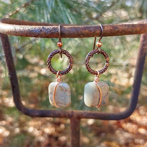 Crunchy Copper and Jasper Earrings