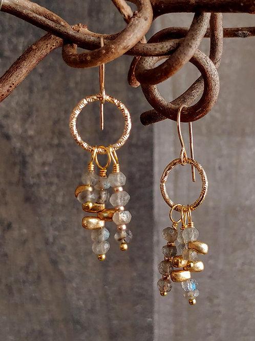 Golden Labradorite Combo Earrings