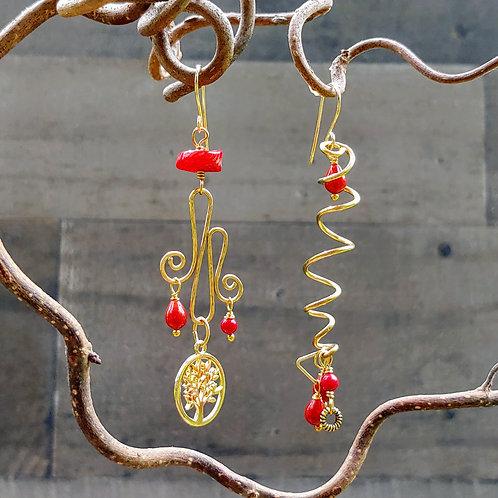 Red Alert Brass Sister Earrings