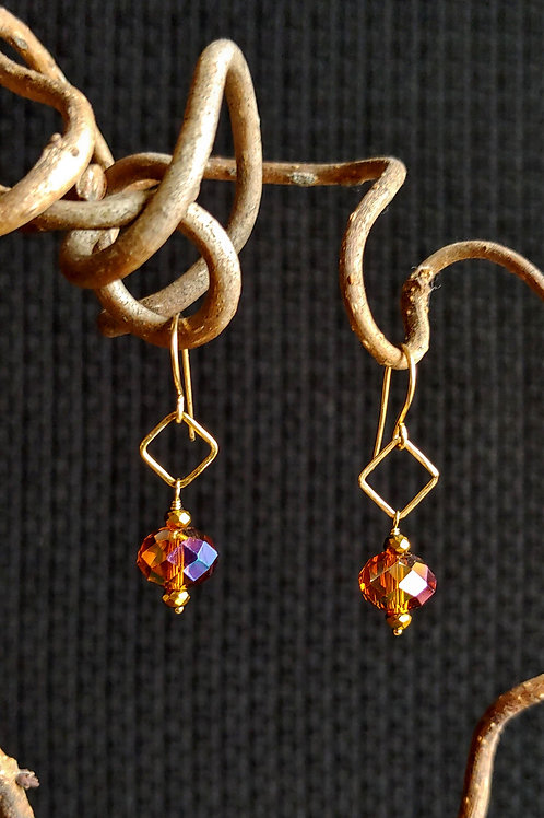 Crystals on Squares Earrings