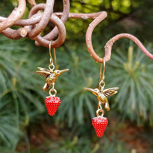Strawberry Hummingbird Earrings