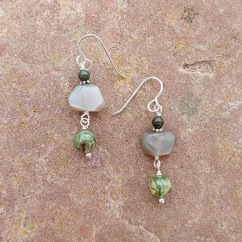 Rhyolite and Moonstone Earrings