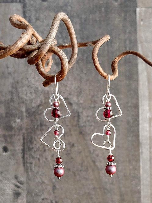 Tumbling Hearts Garnets Earrings