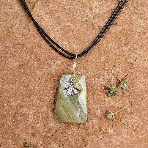 Silver Leaf Jasper Ginkgo Necklace