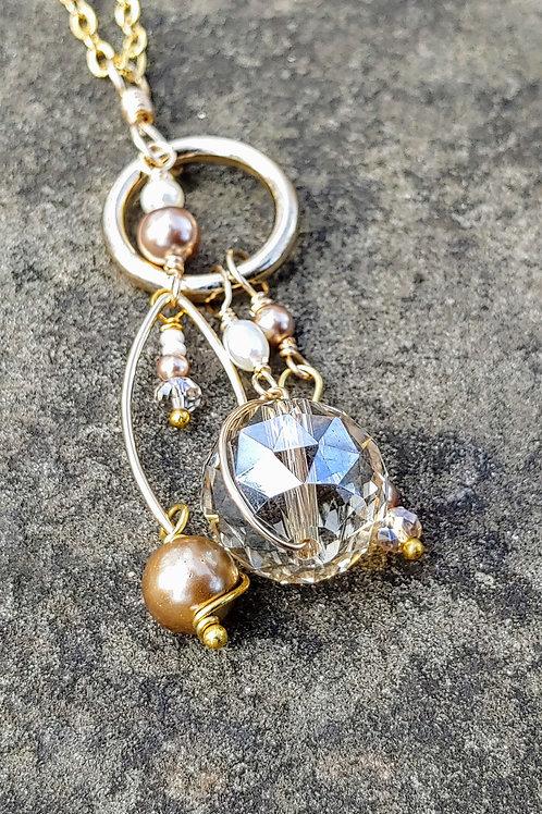 Pearl and Crystal Boho Pendant