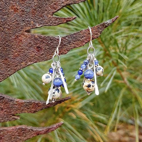 Bunchy Dalmatian Jasper with Sodalite Earrings