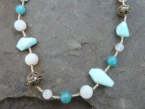 Ocean Waves Golden Amazonite Necklace