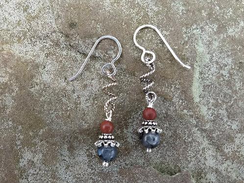 Jasper and Larvakite Earrings