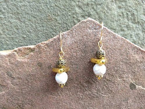 """White """"Turquoise"""" Simple Earrings"""