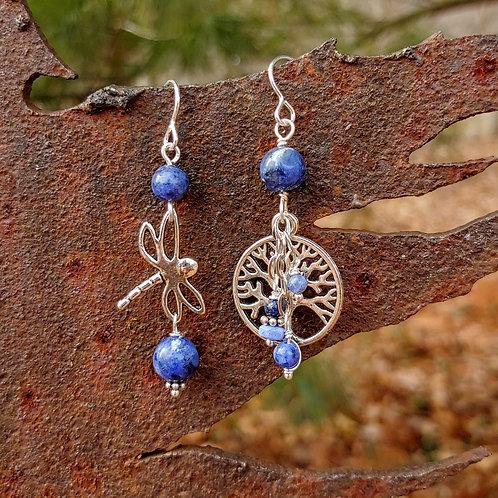 Dragonfly Sister Sodalite Earrings