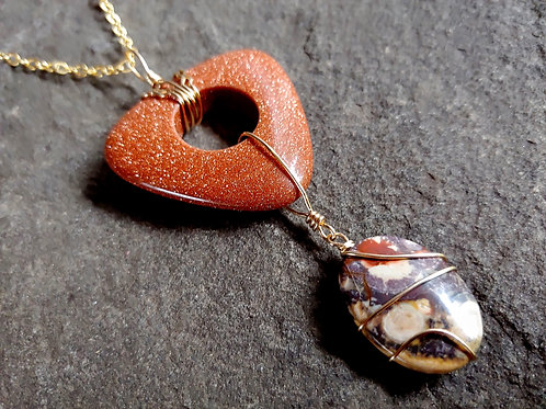 Birds Eye Agate and Goldstone Pendant