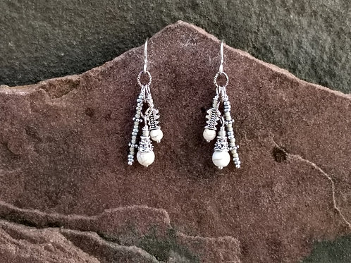 White Turquoise Cluster Mixed Metal Earrings