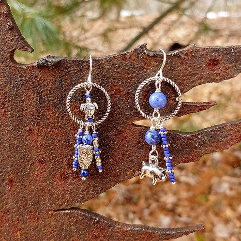 Sodalite and Critter Sister Earrings