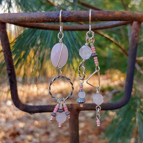 Rose Quartz Long Sister Earrings