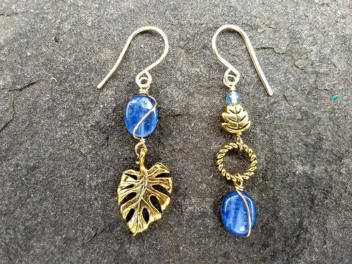 Golden Leaf Kyanite Sister Earrings