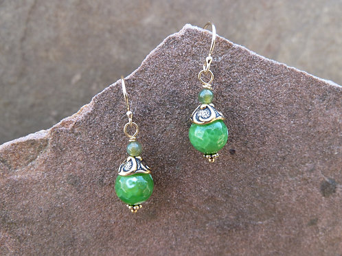 Fresh Green Short Gold Earring