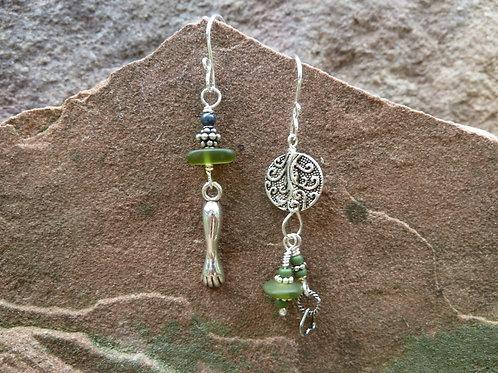 Silly Sisters in Green Earrings