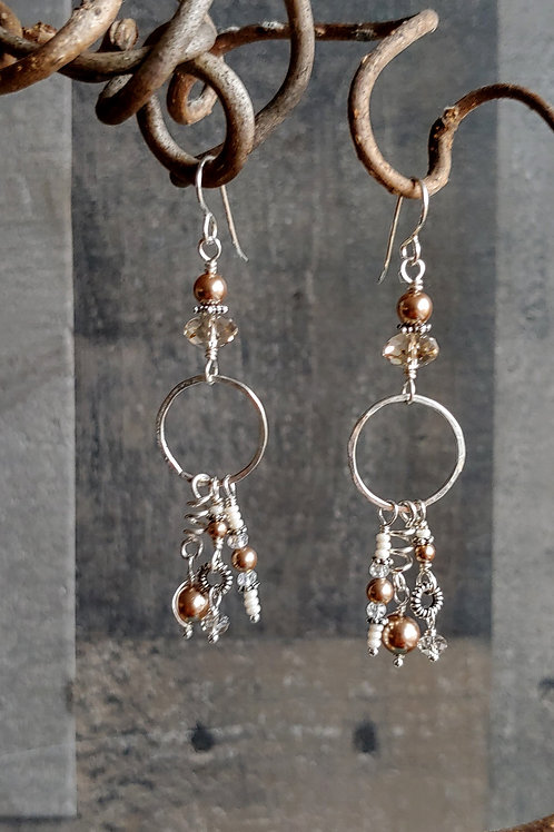 Long Neutral Pearl and Crystal Earrings