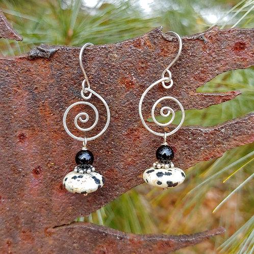 Dalmatian Jasper Leslie Earrings