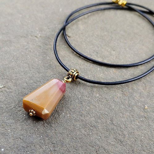 Mookaite Irregular Faceted Stone Necklace