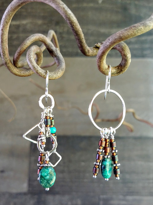 Turquoise and Tobacco Medium Length Sister Earrings