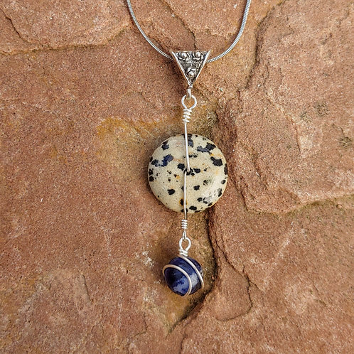 Dalmatian Jasper with Sodalite Fancy Pendant