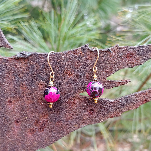 Purple Agate and Golds Earrings
