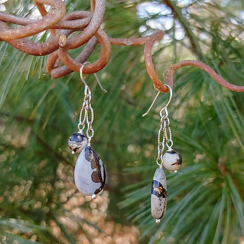 Artistic Jasper Chain Earrings