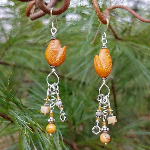 Jade Fish Art Earrings