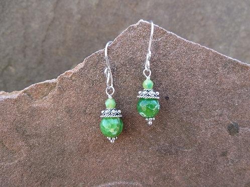 Green Agate Short Earring