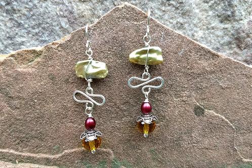 Pearl Crystal Earrings Holiday Pallette