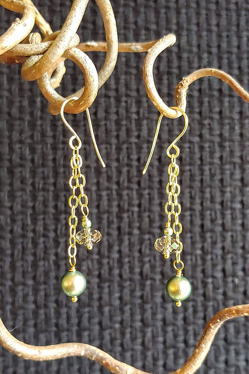 Green Glow Medium Length Earrings