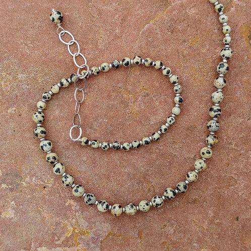 Dalmatian Jasper Simple Bead Necklace