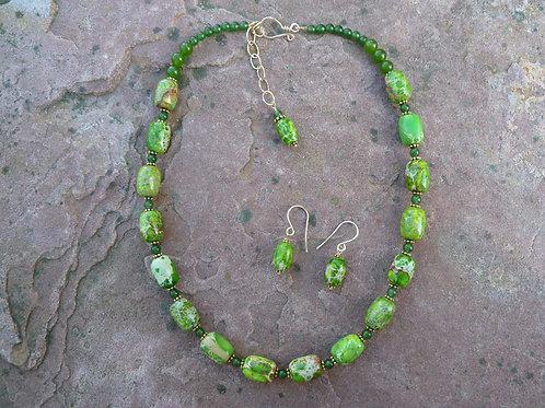 Green Impression Jasper Beaded Necklace