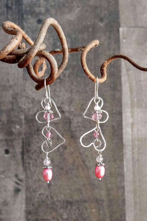 Tumbling Hearts Pink Earrings