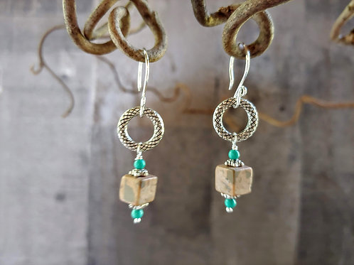 Stones on Textured Ring Earrings