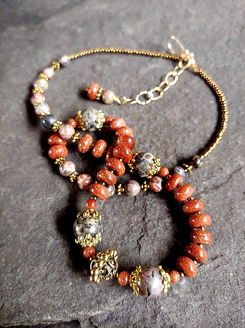 Leopardskin Jasper Golden Necklace