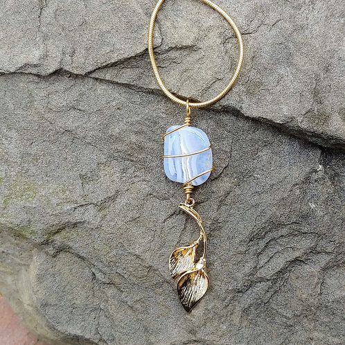 Blue Lace Agate Floral Goldness
