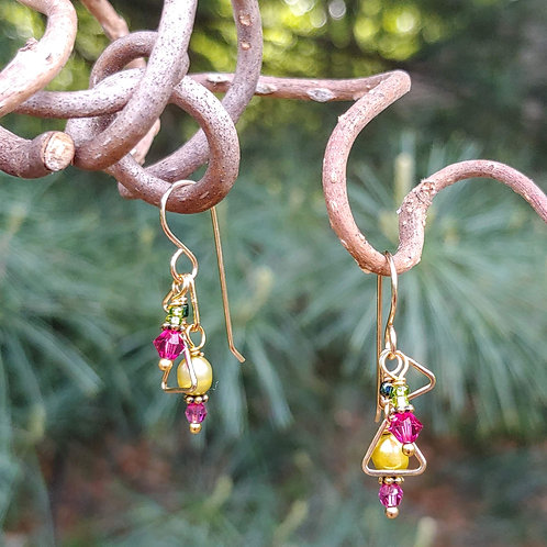 Pink and Green Spring Shapes Earrings