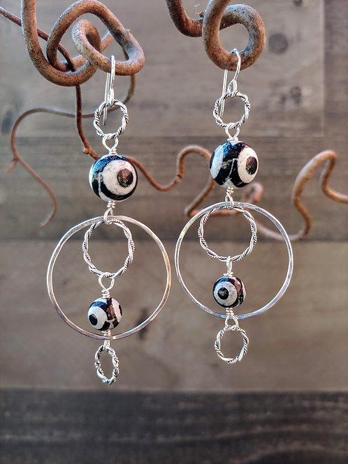 """Evil Eyes"" Silver Earrings"