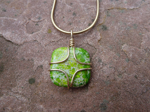 Green Impression Jasper Gold Wrap Pendant
