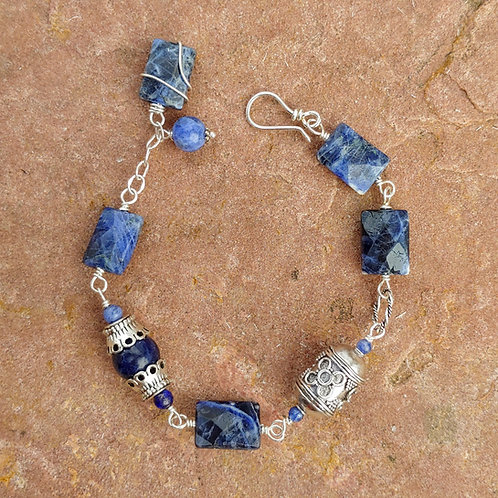 Sodalite Link Bracelet with Zinc Accents