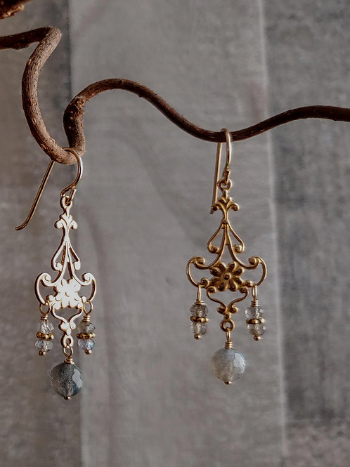 Golden Chandeliers Labradorite Earrings