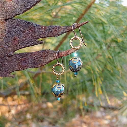 Blue with Antiqued Brass Earrings